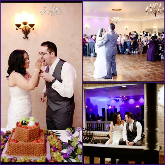 The purple color wash lighting is a perfect addition to your reception. It creates a fun atmosphere for your guests to enjoy while dancing and mingling during the wedding. #purple #wedding #fortworthweddingvenue #dfw #waltersweddingestates