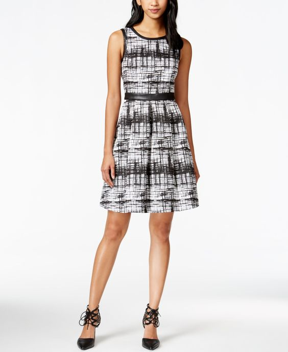 Jessica Simpson Printed Ribbon Tie-Back Fit-and-Flare Dress