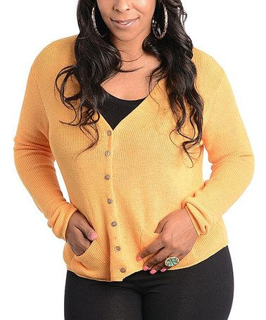 Look what I found on #zulily! Yellow Ribbed Cardigan - Plus #zulilyfinds