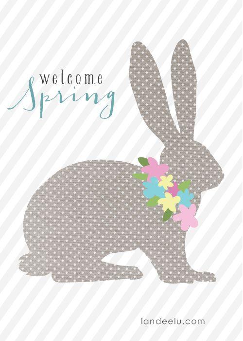 Welcome Spring Polka Dot Bunny and Stripes Free Printable! - Landeelu
