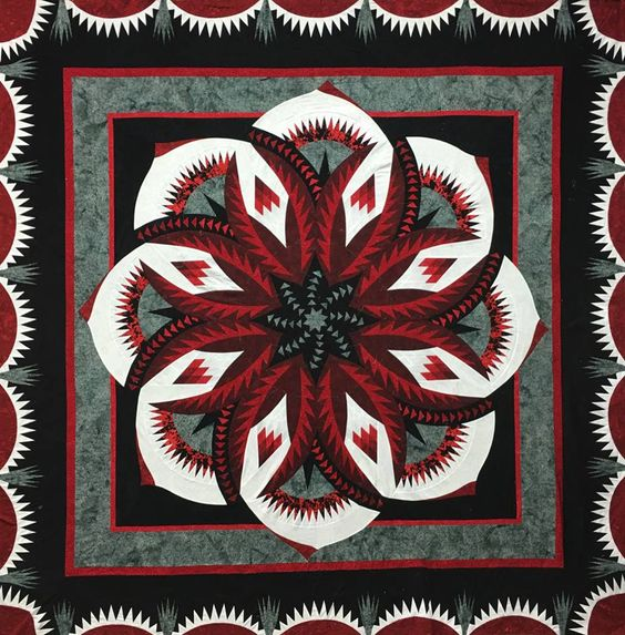 Another finished top by Certified Shop, Mami's Country Quilts from Duck Lake, SK, Canada! Love the Black and Red! Very rich! Contact shop for kitting info!: