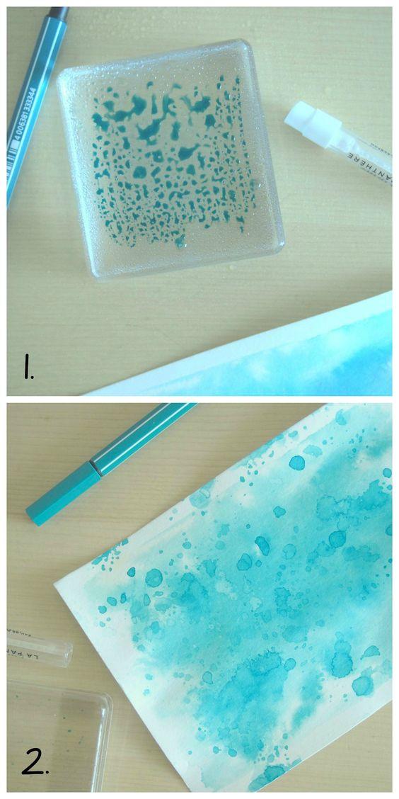 scrap faire des taches d'encre aquarelle