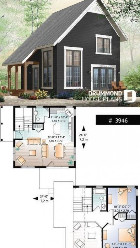 Cottage Design Im Bergangsstil Mit 2 Schlafzimmern Zwischengeschoss Und Kathedralendecke Erschwinglic Tiny Cabin Design Cottage Design Plans Cottage Design