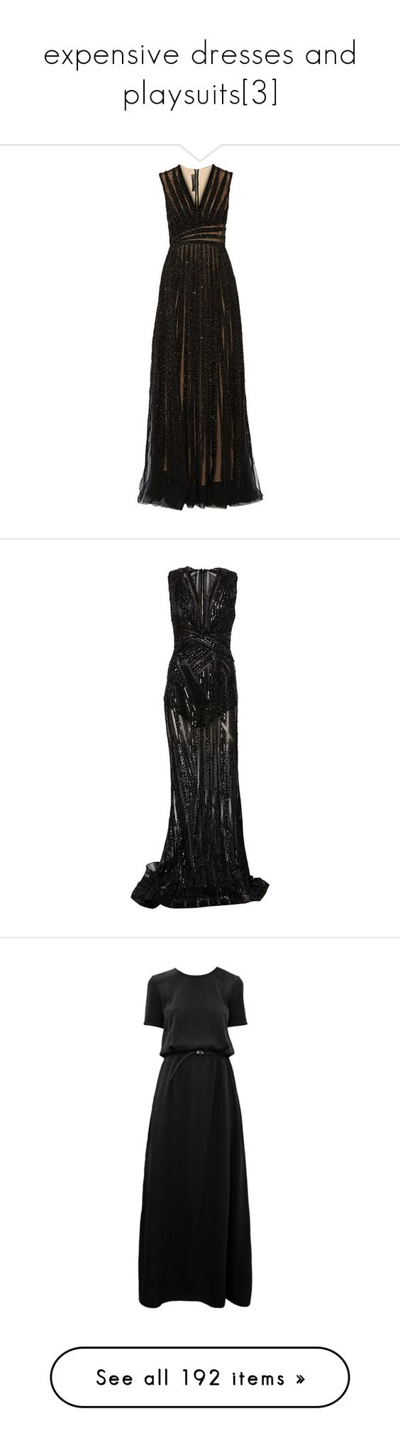 """""""expensive dresses and playsuits[3]"""" by gmbtch ❤ liked on Polyvore featuring dresses, gowns, elie saab, long dress, long beaded dress, v-neck dresses, tulle dress, v neck gown, sequin evening gowns and long dresses"""