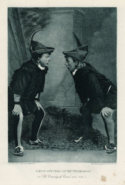 Stuart Robson and William Crane as the two Dromios (Act 5, scene 1; 1888)  in 2020 | Shakespeare words, The comedy of errors, Comedy