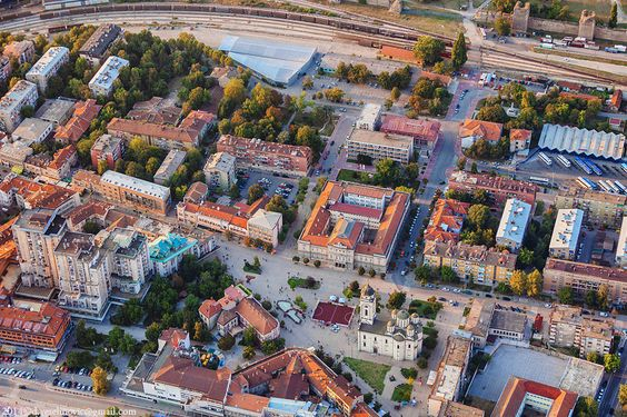 Smederevo city center with the square down and the railway station and the fortress above.