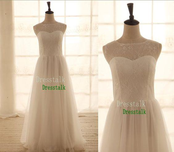 Vintage inspiriert einfach Tulle Lace Hochzeitskleid von dresstalk, $129.00