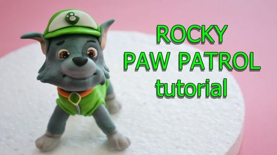 how to make rocky paw patrol cake topper fondant - tutorial cane in past...