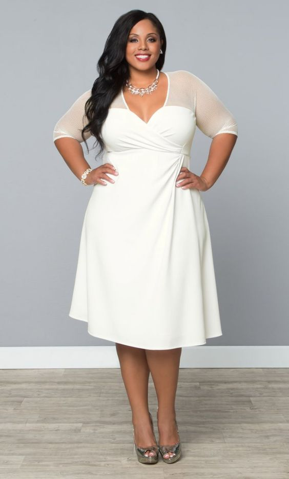 for the more casual bride, opt for our plus size aurora lace