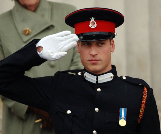 William saluted after being commissioned as an officer in the British Army during the Sovereign's Parade at the Royal Military Academy Sandhurst on December 15 2006.
