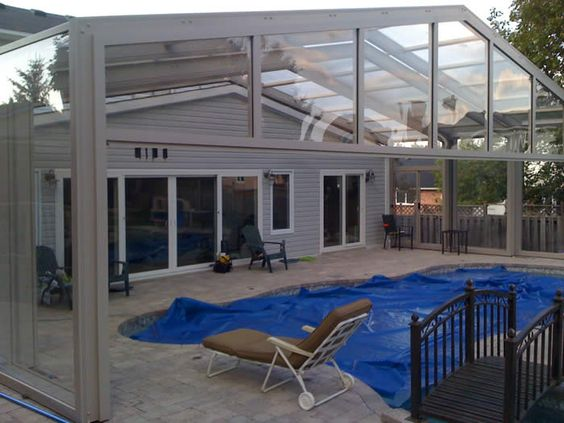 Holland landing end view covers in play retractable enclosures for pools spas and patios Retractable swimming pool enclosures