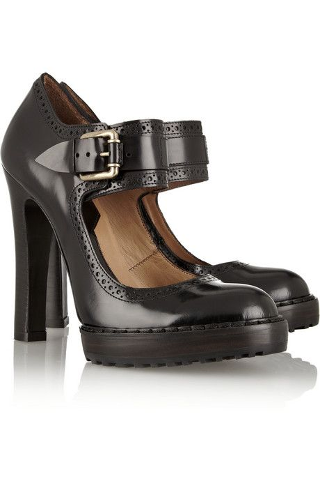 McQ Alexander McQueen Glossed-leather Mary Jane pumps