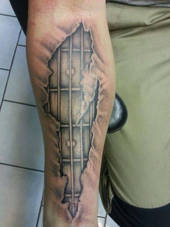 Bass guitar tattoo