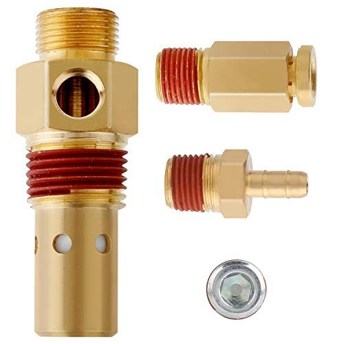Hromee Air Compressor Replacement Components Brass 1 2 Inch Mnpt Compressor In Tank Check Valve Kit With Three Different Unloader Tube Fittings 20 Scfm 4 Pieces