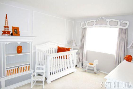 Gray and Orange French Nursery