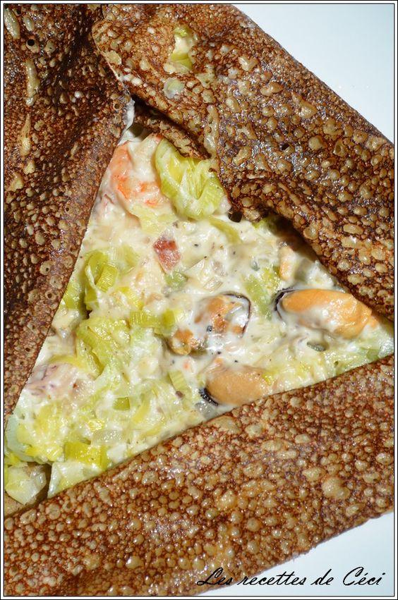 Galette de blé noir aux fruits de mer et sa fondue de poireaux -    Les recettes de Céci