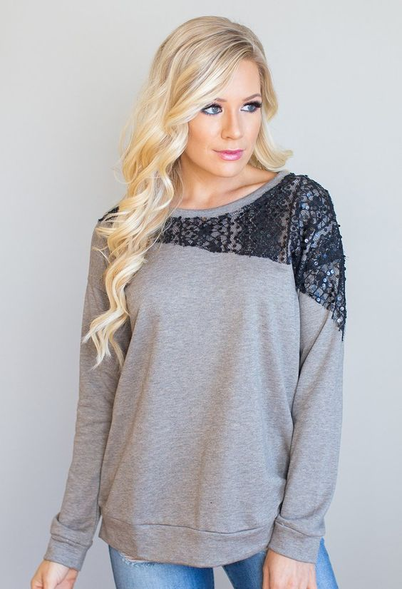 """Its all about this details with this babe! With its asymmetrical lace contrast and sequin accent: its perfect for everyday wear or a night out with the girls! 63% Polyester, 37% Cotton Model is 5'7"""" size 2 in a small.    Measurements Length Bust   Small 27"""" 38""""   Medium 27.5"""" 40""""   Large 28"""" 42"""""""