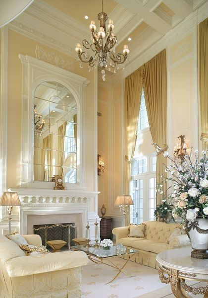 The best fireplace designs for you high ceilings living for Luxury fireplace designs
