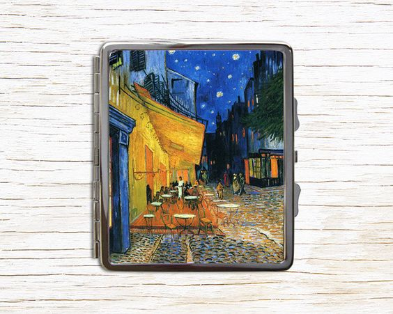 Van Gogh Café Terrace At Night Painting Cigarette Case - Metal Cigarette Case…