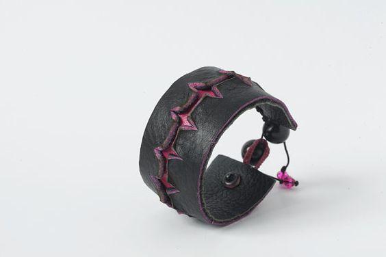 Black and Fuscia Leather Bracelet /52