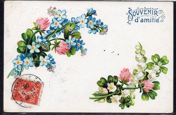 ~DT058 MYOSOTIS TREFLES MUGUET LILY of the VALLEY FANTAISIE Gaufrée RELIEF~