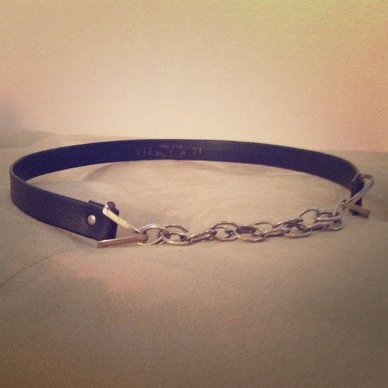 Vintage Hook & Chain Belt Chocolate brown vintage belt with adjustable silver chain detail. Accessories Belts