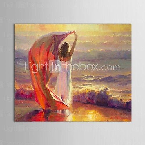 mano brisa pintada personas océano pintura al óleo por steve henderson con marco estirado - USD $79.99