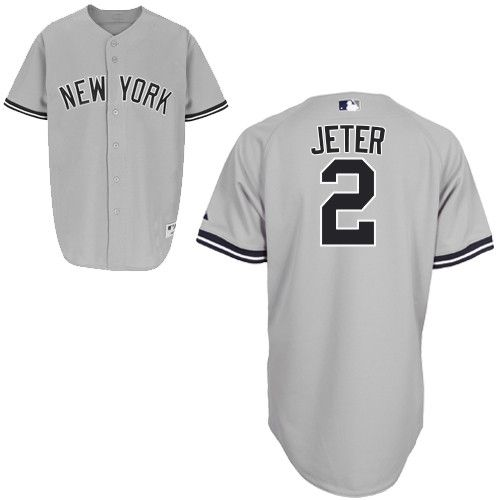 Men S Majestic New York Yankees 2 Derek Jeter Authentic Grey Name On Back Mlb Jersey New York Yankees Shop Derek Jeter New York Yankees