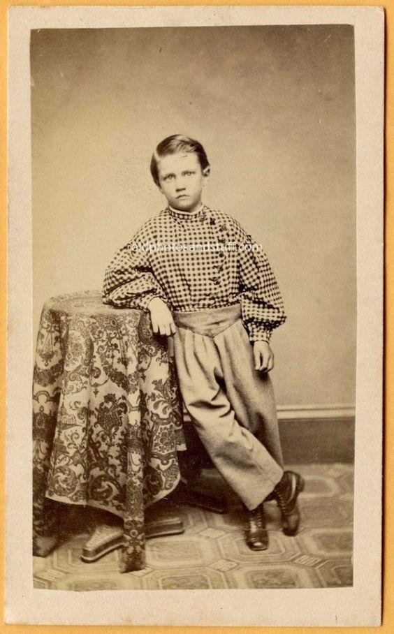 Young Boy Plaid Shirt Old Antique Vintage Civil War Era CDV Photo #89