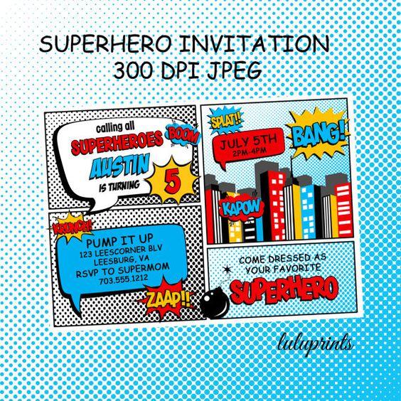 Superhero Invitation Printable Birthday or by LuLuPaperPrints