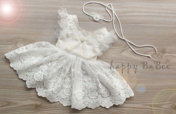 Taufbekleidung - Newborn Outfit Kleid Haarband Taufe Props - ein…