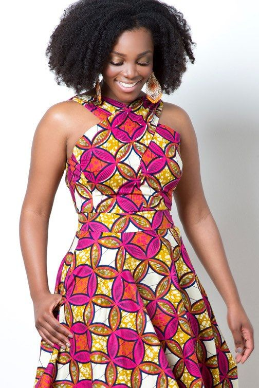 African wax print midi dress with pockets The by ALeapOfStyle