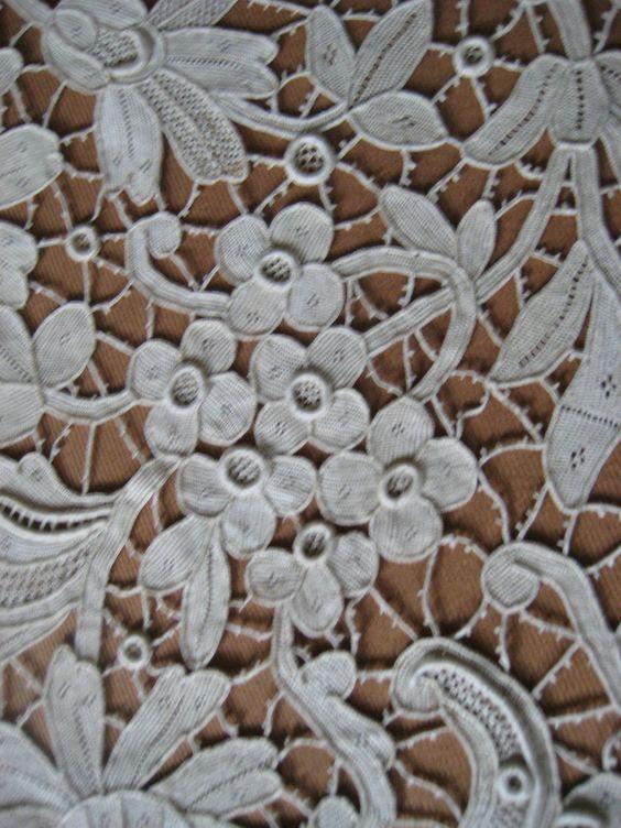 Antique Lace H Made Large Point de Venise Collar Cape w PT de Gaze Type Inserts | eBay