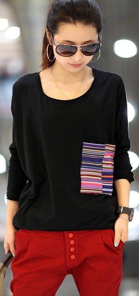New Style Women Long Sleeve Black Loose Cotton T-Shirt One Size @FZ9236b