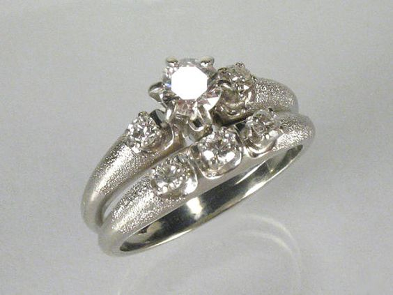 Diamond wedding rings Wedding ring set and Vintage diamond on Pinterest