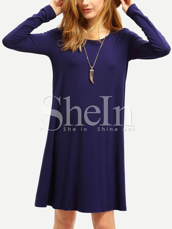 Blue+Long+Sleeve+Casual+Dress+9.90