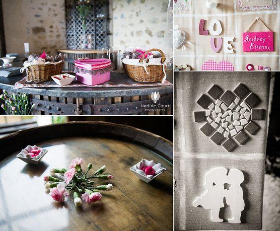 D coration rose et pleine d 39 amour dans l 39 ancienne salle du pressoir d - Decoration mariage diy ...