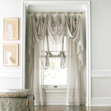 American living midnight mist rod pocket sheer panel - Jcpenney bathroom window curtains ...