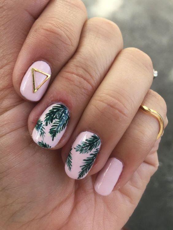 Tropical Palm Print Nail Art - Rose Gold Lining | summer nails | pink nails | handpainted nails | nail studs | triangle stud