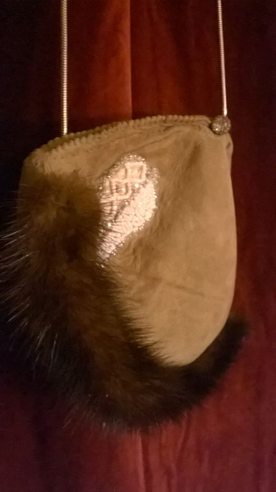 """FOR SALE : $250USD  Contact crsclrsl@gmail.com """"Poachers Pouch"""" Genuine natural Lambskin Handmade  Genuine Mink Trim Accent Antique Beaded Applique Antique Buttons Brass Slinky Chain"""