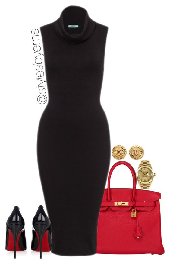 """Untitled #363"" by emsdash ❤ liked on Polyvore featuring Hermès, Christian Louboutin, Chanel and Rolex:"