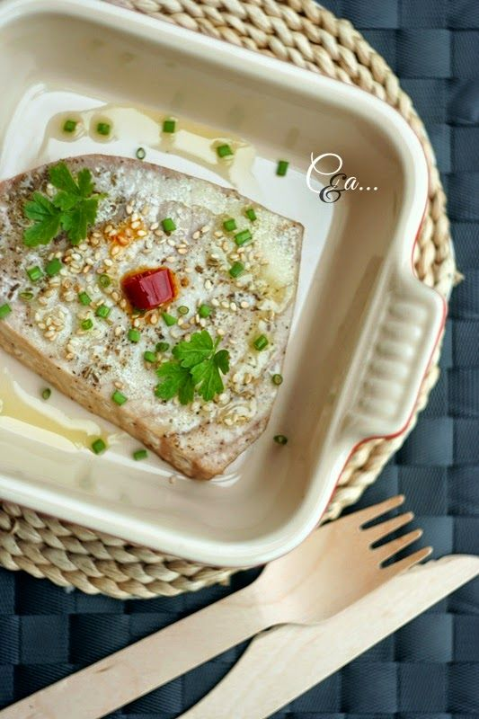 Oven baked tuna fillet