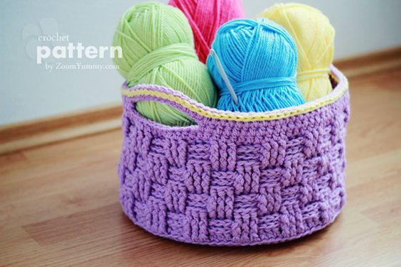 canasta con asas en crochet