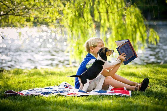 a boy, a book & his dog...