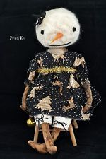 PRIMITIVE Needle Felted Snowman Doll Ooak ONE DAY
