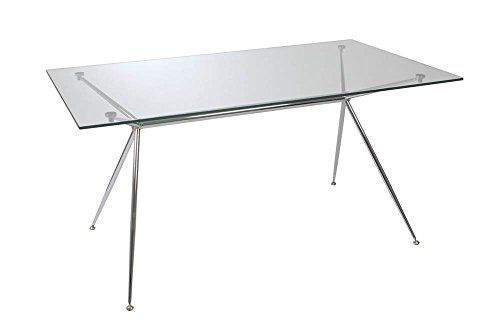 This Modern Take On A Sawhorse Style Desk Provides Shiny Chromed Steel Base Plus Tempered Gl The Adjule Feet Ensure Steady Work Surface No