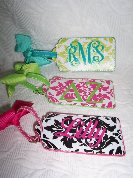 Personalized Luggage Tag Black & Hot Pink Damask by HomeLush, $9.99