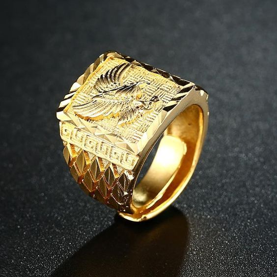 Male Jewelry 24K Gold Plated Cubic Zirconia Finger Signet Wedding Band Ring