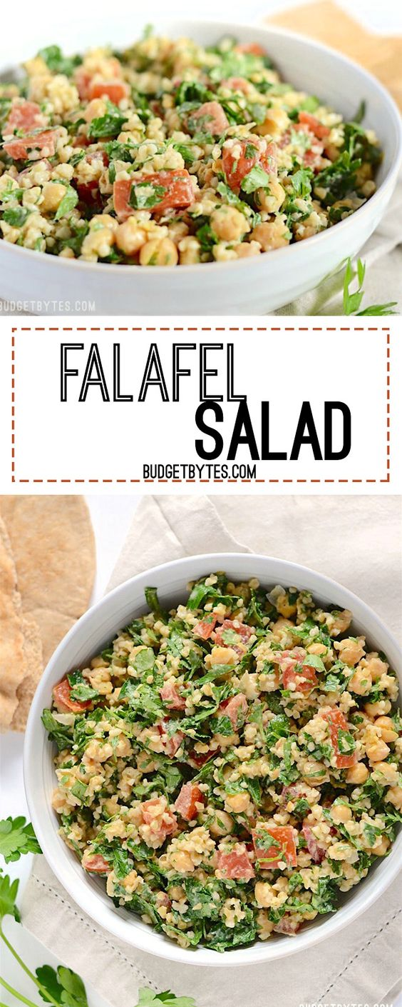 This falafel salad is packed with fresh vegetables, drenched with a tangy tahini dressing, and is 100% vegan. Step by step photos. - BudgetBytes.com
