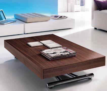 Table basse modulable qui se transforme en table haute for Table qui se deplie